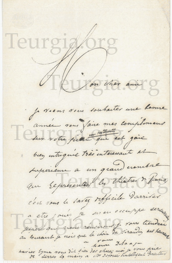 Letter from Henri Delaage, initiator of Dr Papus in Martinism: rare document